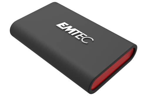 EMTEC X210 Elite 1TB - Disco duro SSD externo compatible con USB 3.2 Gen1 y 2.0 - Tecnología 3D NAND Flash - Cable USB-C 3.2 Gen2 a USB-A y carcasa de protección de silicona incluida
