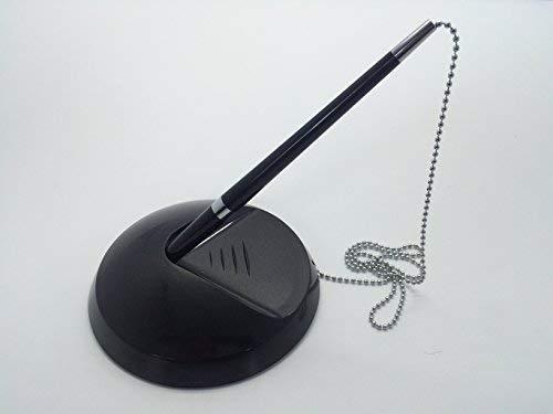 Soporte de escritorio / recepción para bolígrafo con cadena incorporada - Bolígrafo negro + Recargas - Normal, Negro