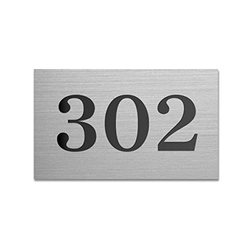表札 【大量注文承ります】 6.5cm×4.0cm ロッカー ポスト ホテル ドア アパート マンション プレート 部屋番号 選べるカラー 選べるデザイン ゆうパケット1 (ステンレス調×黒文字/デザインB)