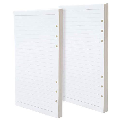 Loose Leaf - Base para cuaderno, A5, 6 anillas, papel de recambio para cuadernos, diarios, 100 hojas