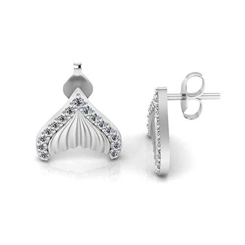 Jbr - Pendientes de plata de ley 925 con forma de cola de diamante para niñas y mujeres