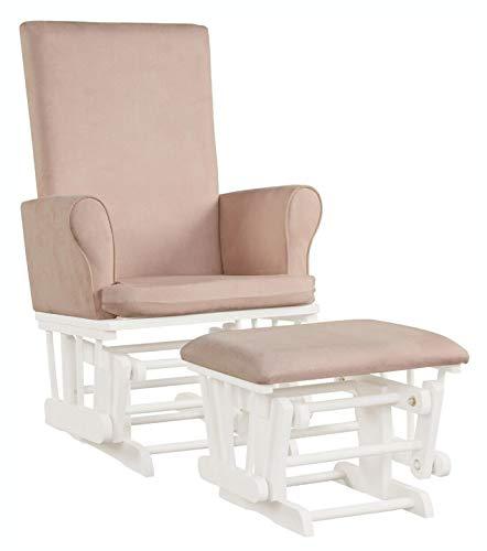 HomyDelight Rocking Chair, Baby Nursery Relax Rocker Rocking Chair Glider & Ottoman Set, Pink