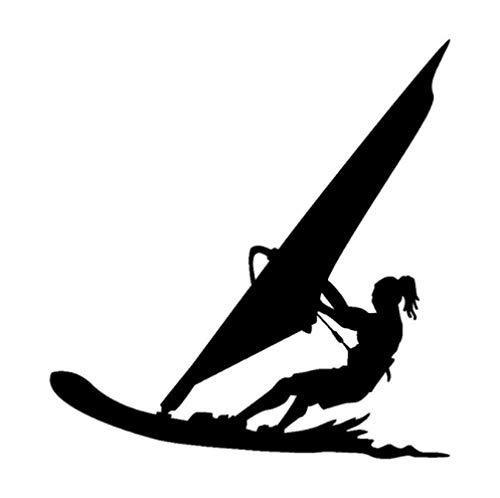 GenericBrands 4 Piezas Etiqueta engomada del Coche 15,9 CM * 16,7 CM Deportes acuáticos Windsurf Surfista Playa Vinilo Coche Pegatinas calcomanías Negro
