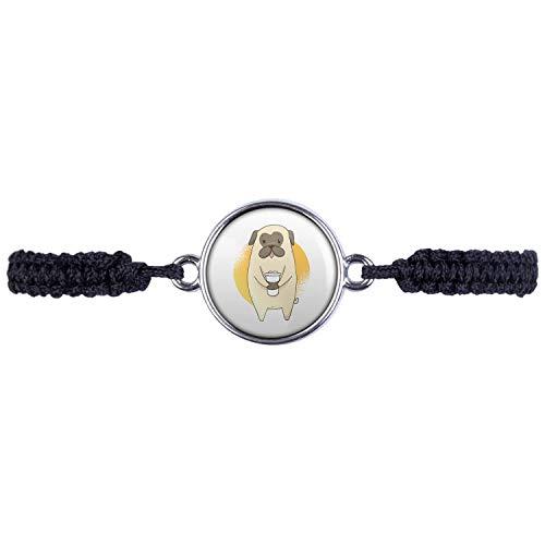 Mylery Armband mit Motiv Mops Hund Pug Süß Kaffee-Becher Silber 16mm