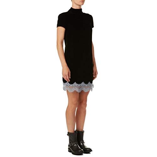 Trussardi Jeans High Collar Dress FLUIDE VELVE Vestito, Nero (Black/Light Azure K312), (Taglia Produttore:44) Donna