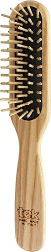 Tek cepillo para el pelo rectangular de madera de fresno con púa corta - Hecho a mano en Italia