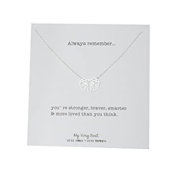 My Very Best Geometric Origami Elephant Necklace  silver plated brass