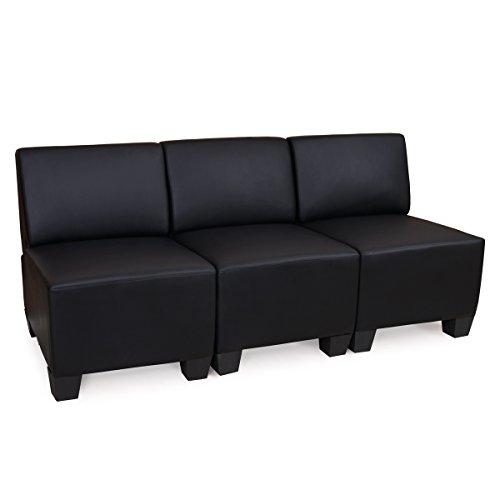 Modular de 3plazas sofá Lyon, piel sintética ~ Negro, SIN reposabrazos