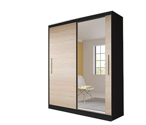 mb-moebel Moderner und funktionaler SchiebetürenSchrank Kleiderschrank Schrank Garderobe Zweitürenschrank Schwebetüren 2-Türig Schlafzimmerschrank 183 cm TESS (Schwarz + Sonoma)