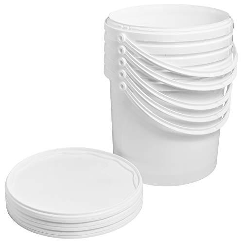 Eimer mit Deckel 5 Liter lebensmittelecht Behälter 5x Plastikeimer Weiss Aufbewahrung Verschließbar Kunststoff Henkel Plastik Farbeimer Kunststoffeimer Kingpower