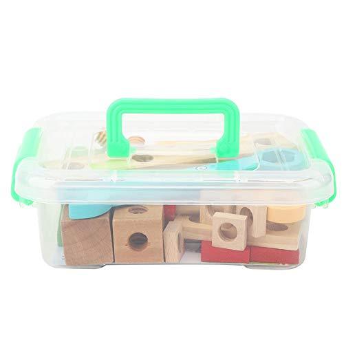 Niños Ingeniería Juego de simulación Herramientas de mantenimiento Juguete, Caja de herramientas de madera Juguete DIY Caja de madera también Juguete educativo(L)