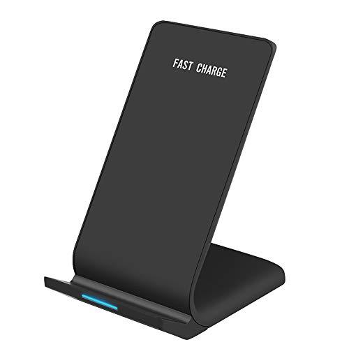 nbws Wireless Charger Cargador inalámbrico Fast Wireless Carga Cargador Qi para iPhone X iPhone 8/8Plus Samsung Galaxy S9/S9Plus S8/S8Plus Note 8, S7/S7Edge S6/S6Edge Ordenador 5–Negro