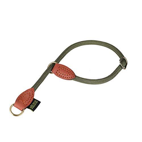 Michur SherpaFree Green Hornet, Hundehalsband aus Tau mit Lederverstärkung, Dressurhalsung für Hunde mit Zugstopper Rund mit Polyamidkern und aus Nylon geflochten, Halsband für Hunde in 50cm.
