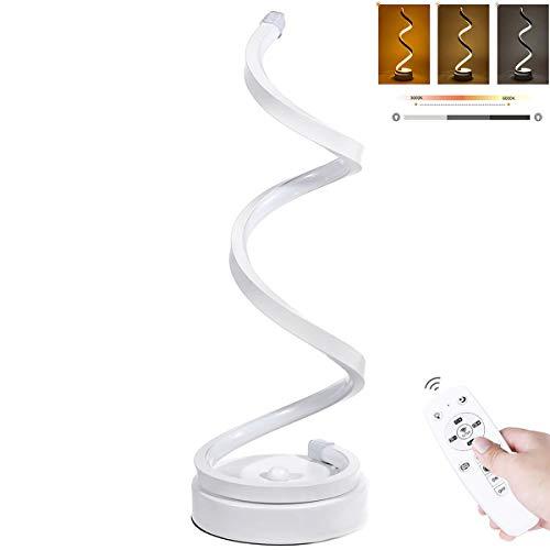 Spiral LED Tischlampe Schreibtischlampe Dimmbar Tischleuchte mit Fernbedienung Energieeffizient Augenschutz Leselampe 3 Helligkeitsstufe mit 1.5 m Kabel