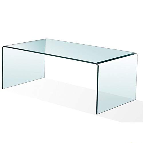 Mesa de Centro Cristal Curvado, 100 x 48 x 43 cm (Medida Exclusiva)