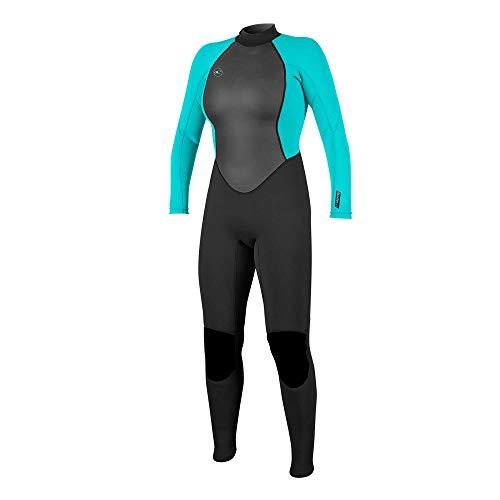 O'Neill Damen Reactor II 3/2mm Back Zip Full Wetsuit Neoprenanzug, Black/Light Aqua, 6