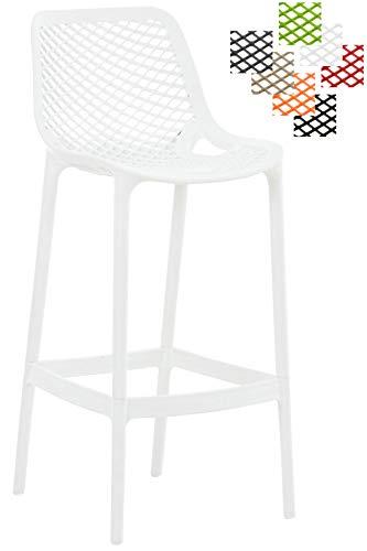 Taburete Air Fabricado en Plástico I Taburete de Exterior y/o Interior I Silla Alta de Terraza con Resplado & Reposapiés I Color:, Color:Blanco