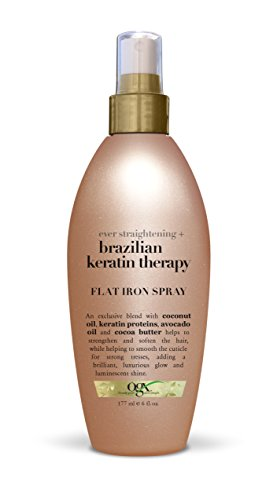 OGX Ever Straightening + Brazilian Keratin Therapy Smoothing Shampoo with Coconut Oil, Cocoa Butter & Avocado Oil for Lustrous, Shiny Hair, Paraben-Free, Sulfate-Free Surfactants, 13 floz