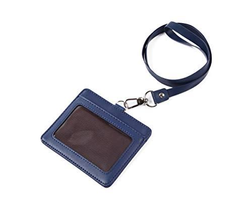モノボックスジャパン 牛革 IDカードホルダー ネックストラップ ポケット2か所 安全装置 強化フィルム 軽量モデル パスケース 1name-mono3 (ネイビー)