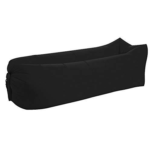 Cama inflable del saco de dormir perezoso al aire libre en la playa, portátil, impermeable, con diseño a prueba de fugas, plegado en un sofá inflable rápido (negro)