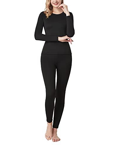 LAPASA Conjuntos de Ropa Térmica Mujer Conjunto Térmico Ligero/Peso Medio/Espeso Cuello Redondo Tela Trasera Cepillada L17/L41/L44S L44 Negro
