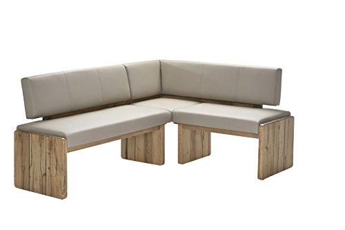 Naturnah Möbel Eckbank Spring aus bestem Leder und Massivholz, Wildeiche. Beste Qualität, nachhaltig produziert. (235 x 165 cm, Sand)