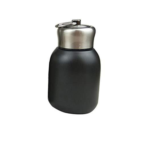 Yqs - Borraccia termica da 300 ml, con mini bicchierini per caffè e sottovuoto, in acciaio inox, portatile, da viaggio, colore: nero