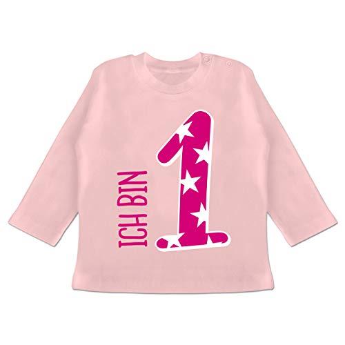 Shirtracer Geburtstag Baby - Ich Bin 1 Rosa Mädchen Erster - 3/6 Monate - Babyrosa - 1 Geburtstag mädchen - BZ11 - Baby T-Shirt Langarm