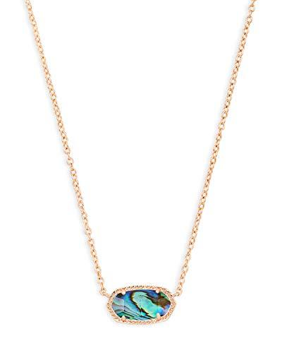 Kendra Scott Elisa Pendant Necklace for Women, Fashion Jewelry, 14k Rose Gold-Plated, Abalone Shell