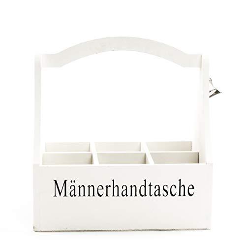 Männer-Handtasche Flaschenhalter   knuellermarkt24.de   Flaschenöffner Holz Flaschenständer Idee weiß Natur Bier aus´ Pott