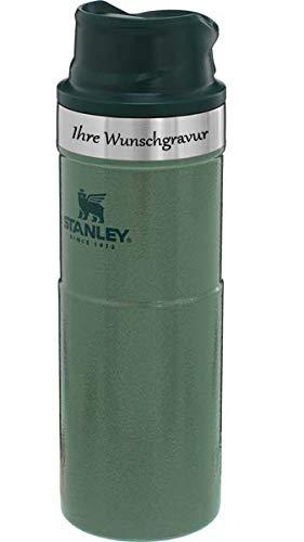 Stanley Classic Trigger-Action TRAVEL Mug 473 ml, dunkelgrün, mit Namensgravur