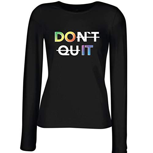 lepni.me Weibliche Langen Ärmeln T-Shirt Nicht Aufgeben tun Es Regenbogen Glücklich Bleiben Motivierendes Zitat (Medium Schwarz Mehrfarben)