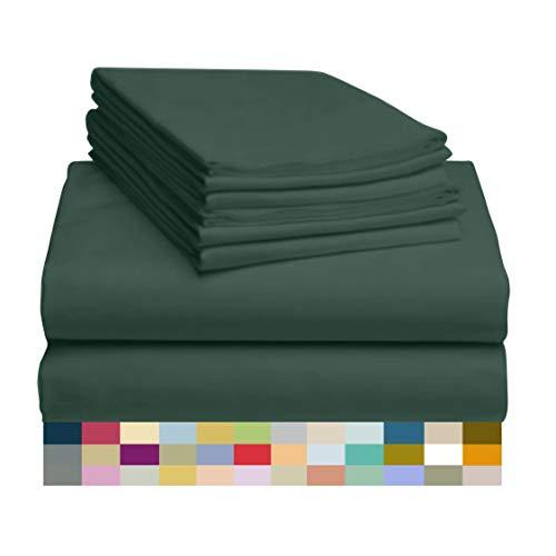 LuxClub 6-teiliges Bettwäsche-Set, Bambus-Bettlaken, tiefe Taschen, 45,7 cm, umweltfreundlich, knitterfrei, maschinenwaschbar, Hotel-Bettwäsche, seidig weich, Smaragdgrün California King