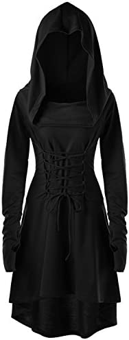 Womens Renaissance Costumes Hooded Robe Lace Up Vintage Pullover High Low Long Hoodie Dress product image