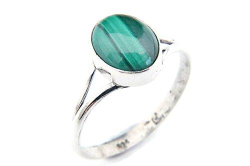 Ring Silber 925 Sterlingsilber Malachit grün Stein (Nr: MRI 92), Ringgröße:56