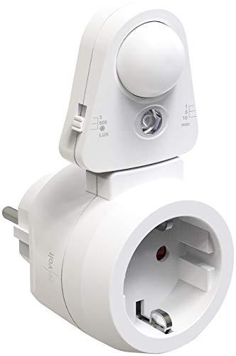 revolt Stecker Bewegungsmelder: Steckdose mit PIR-Bewegungs- und Licht-Sensor, bis 2.300 Watt / 10 A (Bewegungsmelder Steckdose)