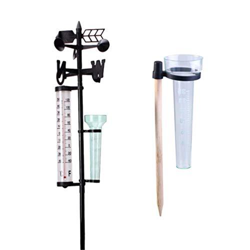 UPKOCH 2 Sätze Regenmesser Messung für Garten Outdoor Hof Farm 3 in 1 Wetterstation Messgerät