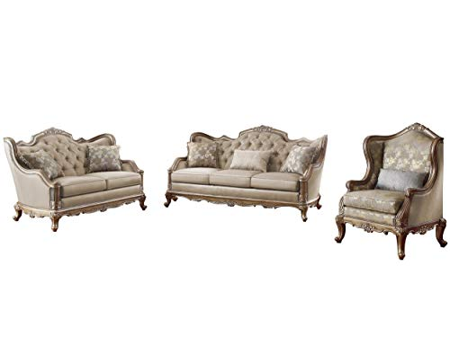 Fayanna Baroque 3PC Set Sofa, Love Seat & Chair in Fabric - Twilight Taupe with Wood Trim