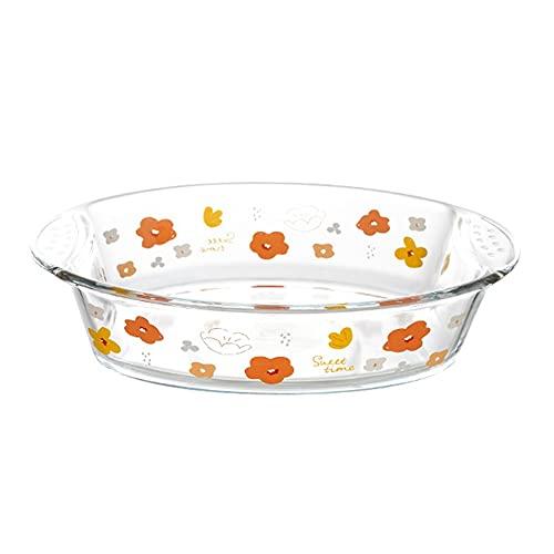 Fuente para horno Horno a la mesa Placas de cena de fabricación de vidrio, plato de hornear de vidrio redondo con asa, cacerola para cocinar, cena de pastel, cocina, 10.2x7.1x2.6inch Fuente para Horno