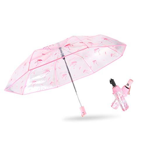 Regenschirm Flamingo Transparent Regenschirm Flamingo Kreativer Reiseschirm für Auto Tragbarer Schirm für Kinder Damen Frauen Studenten Leicht Durchsichtig Windfest (Pink)