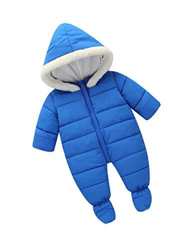 Enfants Hiver Combinaison de Ski Infant Combinaison - Tout Petits Footie Barboteuse Nouveau-Né Manches Longues Manteau Chaud Garçons Onesies (Bleu)