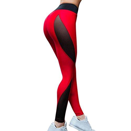 Yogogo Damen 3/4 Yoga Leggings Jeans Mittlere Taille Pants | Trainingshose Hosen | Mesh Patchwork Leggings | Sport Fitness Workout Leggins |...
