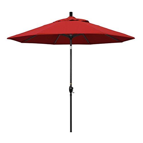 California Umbrella 9' Round Aluminum Market Umbrella, Crank Lift, Push Button Tilt, Black Pole, Sunbrella Jockey Red