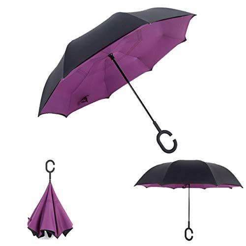 MAWA Paraguas invertido de Doble Capa a Prueba de Viento, autoportante por Dentro y por Fuera, a Prueba de Lluvia C-Hook Rider - Violeta