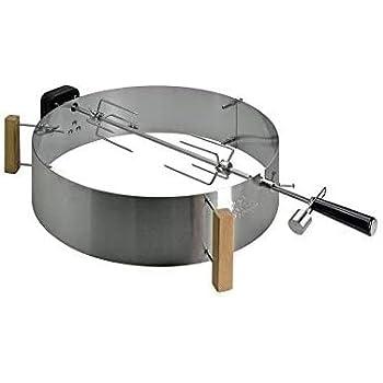 Moesta-BBQ 10091 - Set per arrosto con Smokin' PizzaRing - Spiedo girevole Moesta con motore a batteria senza fili per polli da barbecue ecc. - Per barbecue a sfera con diametro di 47 cm