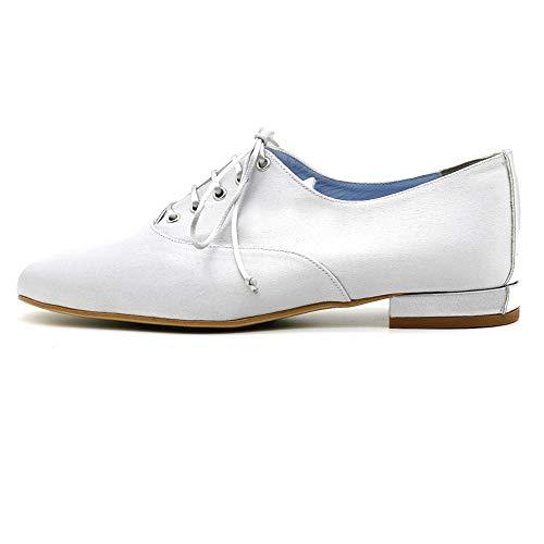 CIVI. Zapato Oxford Inglés de señora. Calzado de Mujer con Cordones. Plata....