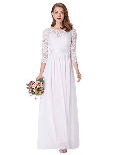 Ever-Pretty Vestito da Sposa Donna Linea ad A Girocollo Manica 3/4 Pizzo Chiffon Stile Impero Lungo Bianco 44