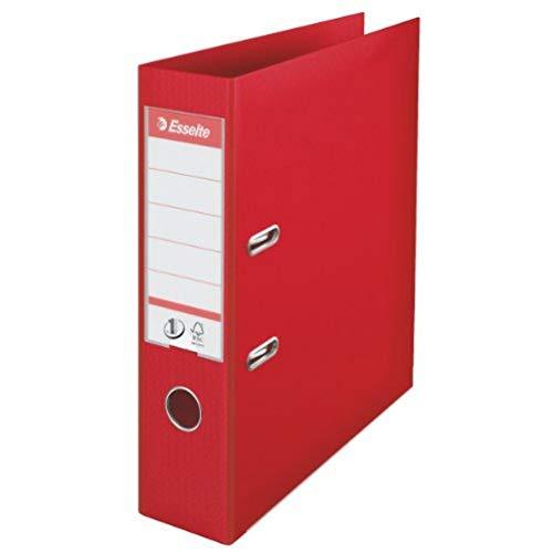 Esselte 811330 Raccoglitore a Leva Formato A4, in Plastica con Dorso da 7.2 cm, Pacco da 10, Rosso