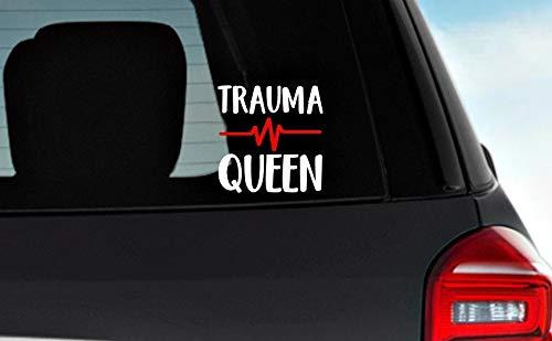 Trauma Queen met Vitale Tekenen Vinyl Decals, Verpleegster Decal, Caw Window Decal, Tumbler Decal, Wijnglas Decal Eenvoudig aan te brengen en verwijderbaar