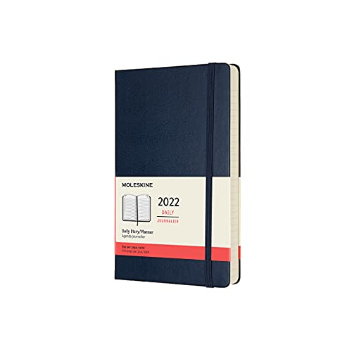 Moleskine Classic 12 Month 2022 Daily Planner, Hard Cover, Large (5 x 8.25), Sapphire Blue